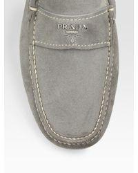 Prada - Gray Suede Drivers for Men - Lyst