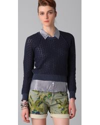 See By Chloé   Blue Lace Knit Cropped Sweater   Lyst