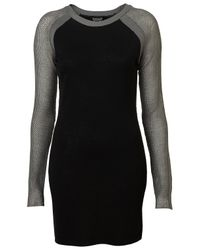 TOPSHOP | Black Knitted Mesh Sleeve Dress | Lyst
