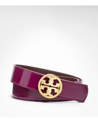 Tory Burch | Purple Patent Leather Reversible Logo Hip Belt | Lyst
