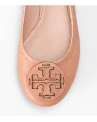 Tory Burch - Brown Leather Reva Ballet Flat - Lyst