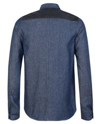 A.P.C. - Blue Denim and Mock Suede Shirt for Men - Lyst