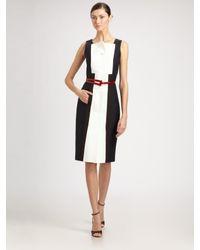 Carolina Herrera | Black Colorblock Dress | Lyst