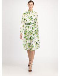 Carolina Herrera - Green Sparrow-print Shirtdress - Lyst