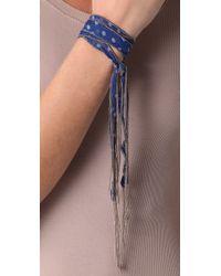 Chan Luu - Blue Beaded Chiffon Wrap Bracelet / Necklace - Lyst