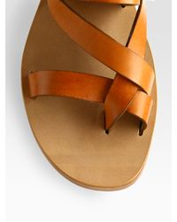 Chloé - Brown Strappy Leather Slingback Toe Ring Sandals - Lyst