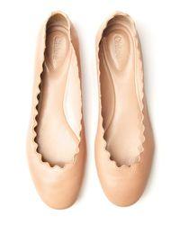 Chloé - Brown Scalloped Ballet Flat - Lyst