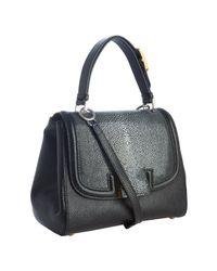 Fendi | Black Leather and Stingray Silvana Flap Crossbody Bag | Lyst