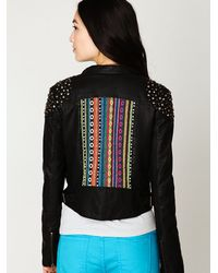 Free People - Black Embellished Vegan Leather Motorcycle Jacket - Lyst