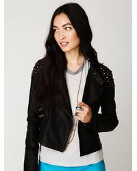 Free People | Black Embellished Vegan Leather Motorcycle Jacket | Lyst