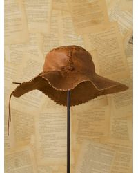 Free People | Brown Vintage Leather Sun Hat | Lyst