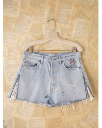 Free People | Blue Vintage Levis Lace & Heart Mini Skirt | Lyst