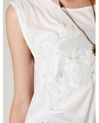 Free People - White Fearless Fringe Graphic Tee - Lyst