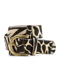 Mango | Black Leather Leopard Print Belt | Lyst