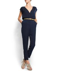 Mango - Blue Print Flower Jumpsuit - Lyst