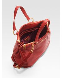 Miu Miu - Red Vitello Caribou Top Handle Bag - Lyst