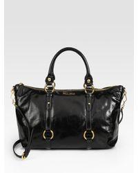 Miu Miu | Black Vitello Shine Tote Bag | Lyst
