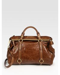 Miu Miu | Brown Vitello Lux Large Bow Bag | Lyst