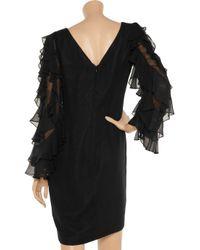 Notte by Marchesa - Black Ruffle Sleeve Silk-chiffon Shift Dress - Lyst