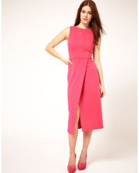ASOS Collection | Pink Midi Pencil Dress With Wrap Skirt | Lyst