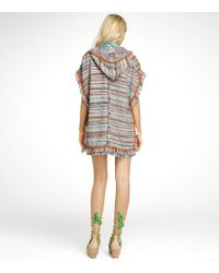 Tory Burch - Multicolor Caterina Hooded Poncho - Lyst