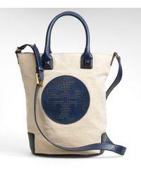 Tory Burch | Blue Canvas Meredith Bucket Bag | Lyst