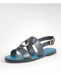 Tory Burch | Blue Fletcher Flat Sandal | Lyst
