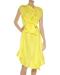 Zac Posen - Yellow Belted Poplin Dress - Lyst