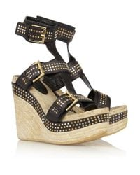Alexander McQueen | Black Studded Leather Wedge Sandals | Lyst