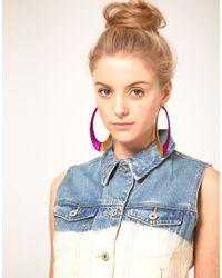 ASOS Collection - Asos Metallic Thread Hoop Earrings - Lyst