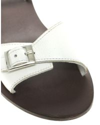 ASOS Collection - White Asos Flutter Flat Leather Sandals with Buckle Detail - Lyst