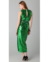 By Malene Birger | Green Amukaji Sequined-Jersey Dress | Lyst