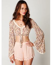 Free People | Multicolor Bell Sleeve Floral Crop | Lyst