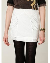 Free People | White Fp New Romantics Pieced Eyelet Mini Skirt | Lyst