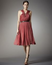 Lanvin | Pink Pleated Tulle Dress | Lyst