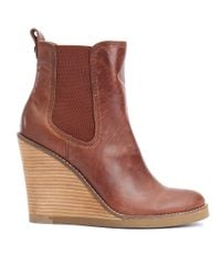 Lucky Brand | Brown Fedora Wedge Ankle Booties | Lyst