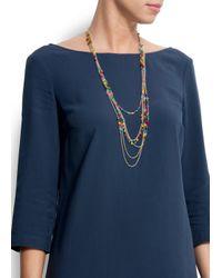 Mango - Blue Long Multi-necklace - Lyst