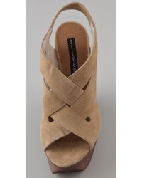 Steven by Steve Madden - Natural Banndo Suede Wedge Sandals - Lyst