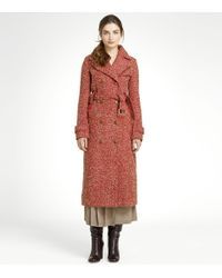 Tory Burch | Orange Beckett Tweed Coat with Shearling Collar | Lyst