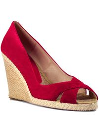 Andre Assous - Mel - Red Suede Wedge Espadrille Pump - Lyst