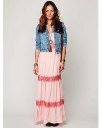 Free People - Pink Lace Stripes Maxi Dress - Lyst