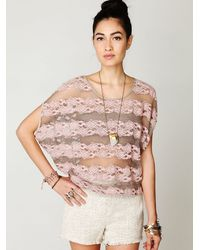 Free People | Pink County Fair Banded Bottom Lace Top | Lyst