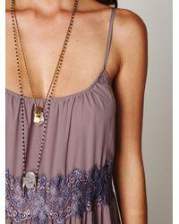 Free People - Purple Lace Stripes Maxi Dress - Lyst