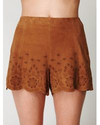 Free People - Brown Suede Charade Short - Lyst