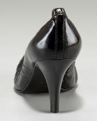 Tory Burch | Caroline - Black Patent Leather Mid Heel Pump | Lyst
