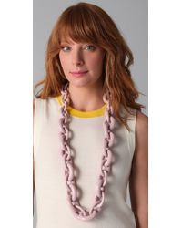 Tory Burch - Pink Resin Chain Necklace - Lyst