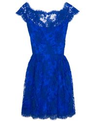 Issa | Blue Cap Sleeve Lace Dress | Lyst