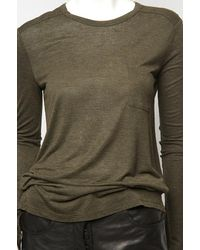 T By Alexander Wang - Green Classic Long Sleeve Pocket Tee - Lyst