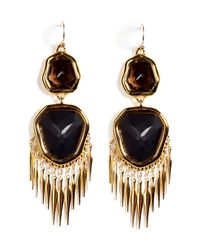 Alexis Bittar - Metallic Gold Smoky Quartz and Onyx Earrings - Lyst