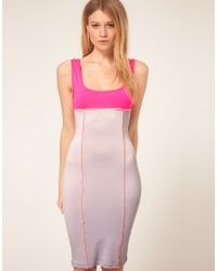ASOS Collection | Pink Asos Petite Exclusive Bodycon Midi Dress with Cut Out Back Detail | Lyst